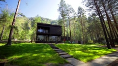 Beautiful house in a pine forest, the green grass, lawn Stock Footage