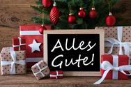 Colorful Christmas Tree, Alles Gute Means Best Wishes Stock Photos