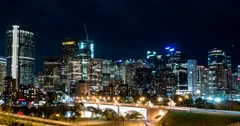 Hyper lapse of downtown Calgary and Centre Street Bridge at night Stock Footage