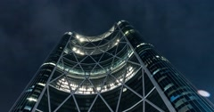 Hyper-lapse of Bow Building at night. Calgary, Alberta. Stock Footage