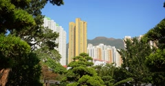 Modern Highrise Residential Buildings Overlooking an Urban Green Space Stock Footage