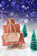 Vertical Christmas Sleigh On Blue Background, Quote Always Time Begin Stock Photos