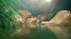 River Flowing over Rocks, Filling Natural Pool in Vietnam, with Sound Stock Footage