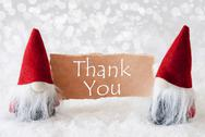 Red Gnomes With Card, Text Thank You Stock Photos