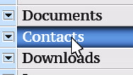 Contacts. My own design of program menu. Stock Footage