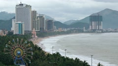 Overlooking Vista of Nha Trang, Vietnam's Coastline and Cityscape Stock Footage