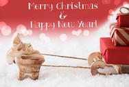 Reindeer With Sled, Red Background, Merry Christmas, Happy New Year Stock Photos