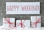 White Gift With Snowflakes, Text Happy Weekend Stock Photos