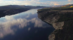 Amazing Aerial Over Lake Roosevelt, Washington at Sunset with Cloud Reflection Stock Footage