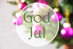 Blurry Balls, Rose Quartz, God Jul Means Merry Christmas Stock Photos