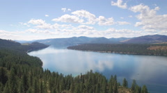Beautiful Aerial Over Dry Eastern Washington Forest to Reveal Lake Roosevelt Stock Footage
