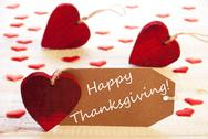 Label With Many Red Heart, Text Happy Thanksgiving Stock Photos