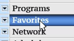 Favorites. My own design of program menu. Stock Footage
