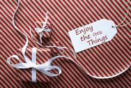 Two Gifts With Label, Quote Enjoy The Little Things Stock Photos