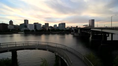 Panning movie of downtown skyline in Portland Oregon at sunset 1080p hd Stock Footage