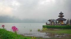 Mist over the Lake at Pura Ulun Danu Bratan Temple in Bali Stock Footage