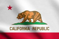 Flag of California waving with fabric texture Stock Illustration
