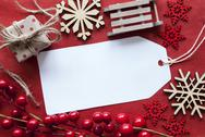 Label WIth Christmas Decoration And Copy Space Stock Photos