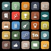 College flat icons with long shadow Stock Illustration