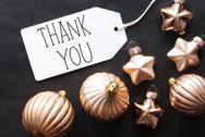 Bronze Christmas Tree Balls, Text Thank You Stock Photos