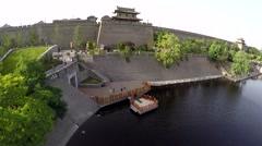 Drone China Xi An City Wall Stock Footage