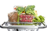 Shopping cart with food. Stock Photos