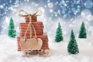 Christmas Sled On Snow With Blue Background, Copy Space Stock Photos