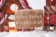 Gingerbread House, Sled, Snowflakes, Guten Rutsch 2017 Means New Year Stock Photos