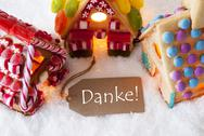 Colorful Gingerbread House, Snow, Danke Means Thank You Stock Photos