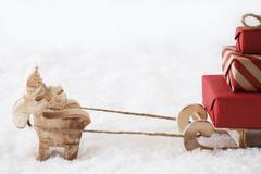 Reindeer With Sled, White Background, Copy Space Stock Photos