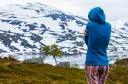 Tourist woman in mountains Norway Stock Photos