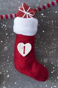 Vertical Nicholas Boot With Gift, Cement Background, First Advent, Snowflakes Stock Photos