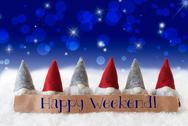Gnomes, Blue Background, Bokeh, Stars, Text Happy Weekend Stock Photos