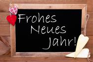 Chalkbord, Hearts, Frohes Neues Jahr Means Happy New Year Stock Photos