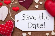 Label, Red Hearts, Flat Lay, Text Save The Date Stock Photos