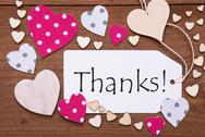Label, Pink Hearts, Text Thanks Stock Photos