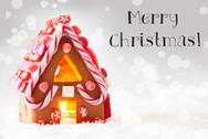 Gingerbread House, Silver Background, Text Merry Christmas Stock Photos