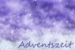 Purple Christmas Background, Snow, Snowflakes, Adventszeit Means Advent Season Stock Illustration