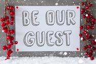 Label, Snowflakes, Christmas Decoration, Text Be Our Guest Stock Photos