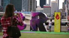 Brisbane art sculpture activity Stock Footage