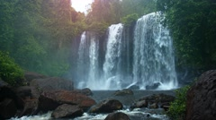 Water Flows over Natural Waterfall in Cambodia with Sound Stock Footage