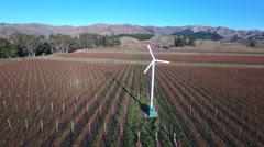 Aerial view of vineyard and frost fans during winter Stock Footage