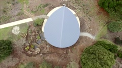 Flying looking straight down over gazebo, and revealing Silvan Reservoir Stock Footage