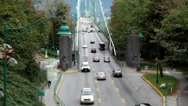 Top shot of Lions Gate Bridge at Stanley Park in Vancouver BC Canada Stock Footage