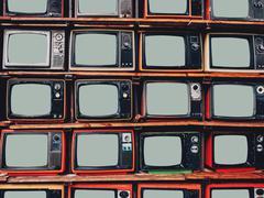Old retro television and blank screen dispalny Stock Photos