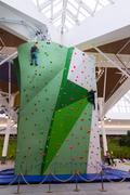 Moscow, Russia - August 30, 2016. Big climbing wall in a shopping complex Zel Stock Photos