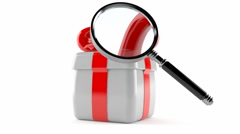 Gift with magnifying glass Stock Footage