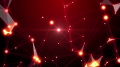 Red plexus and polygons abstract technology and engineering motion background Stock Footage