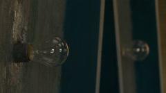 View of warm light bulbs on wall Stock Footage