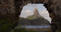 4K Ruins and harbor at Fernando de Noronha, Brazil. Paradise tropical beach. Stock Footage